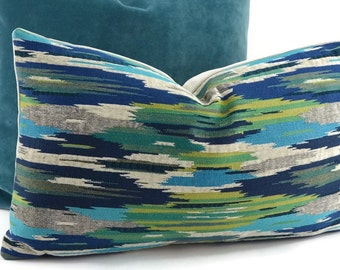 Blue, Turquoise, Teal Off White, Gray & Green Chenille Ikat Lumbar Throw Pillow Cover, 12x20