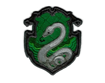 """Harry Potter """"Slytherin"""" Hogwarts House Crest Inspired - Embroidered Iron-on Patch"""
