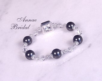 "Black pearl bridal bracelet, clear crystal beads & black Swarovski pearls, wedding,  ""Simply Divine"" bracelet"