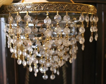 "vintage Italian ""wedding cake"" chandelier with 5 tiers of pendant prisms"