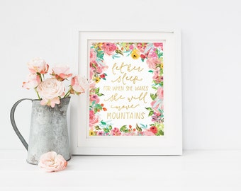 Nursery Wall Art - Inspirational Quote - Let Her Sleep - Pink and Gold - Baby shower gift - Baby girl - Nursery decor - Floral - SKU:2770