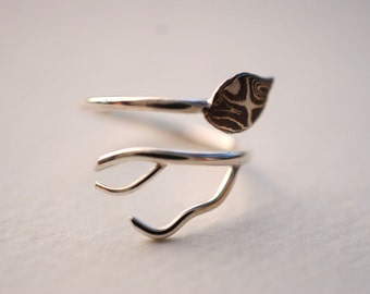 Mokume Gane Leaf Asymmetrical Roots Ring (Antler Root Branch Nature Inspired Adjustable Twist Ring with Copper Leaf)