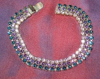 1940s Bracelet, 1940s, 1950s, Vintage Bracelet, Three-Strand Rhinestone Tennis Bracelet, 1940s Rhinestone Bracelet,  1950s, 50s Rhinestones