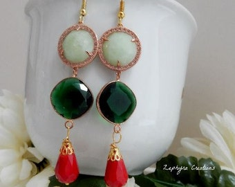 earrings red and green