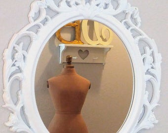 Ornate Vintage Carved White Sabby Cottage Mirror BEAUTY!