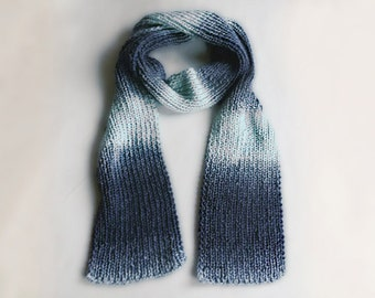 Blue ombre knitted scarf - Blue grey gradient scarf , hand knitted scarf , women's scarf , winter scarf , wool scarf