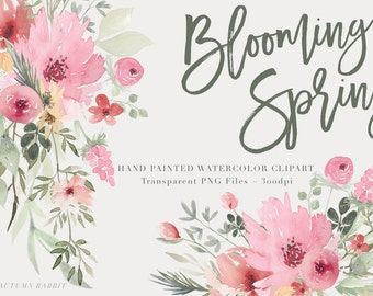 Watercolor Flowers  Clipart Files - High Res Transparent PNG - Blooming Spring Hand Painted Digital Scrapbook elements - Instant download
