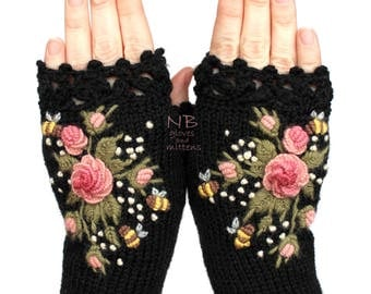 Knitted Fingerless Gloves, Black, Roses, Rose, Pastel Pink, Bees, Clothing And Accessories, Gloves & Mittens, Gift Ideas, For Her