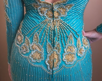 1980's Turquoise & Gold Beaded Dress