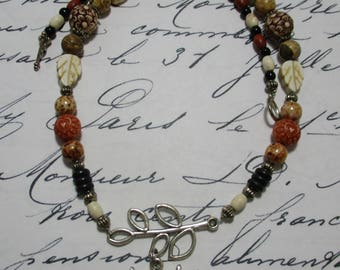 Harry Potter Hedwig Wise Owl on a Branch with Silver, Black Onyx, and Earth Tones. Boho. Graduate. Teacher Gift. Graduation. Beaded.