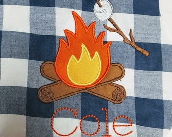 Camp Fire Marshmallow Smores  Appliques Design File for Embroidery Machine Monogram Applique Instant Download