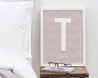 "8x10"" Child's Name Print - chevron pattern print - nursery print - child's bedroom print - home decor"