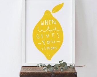Kitchen Lemon Print A3 - home decor print - yellow lemon art - typographic print