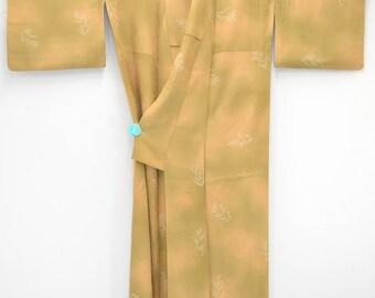 VINTAGE SILK KIMONO H45a - Lovely Khaki Beige Gradation with Autumn Grass