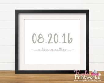 Personalized Wedding Date Gift | Wedding Date Art Print | Engagement Gift |  Anniversary Gift | Wife Christmas | Shower Gift | Bride & Groom