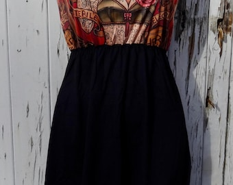Tattooed Lady Black Dress - Size 10 12 14 - Poster Circus Tattoo Rockabilly Alternative Skater