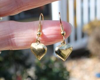Small Gold Puffy Heart Pierced Earrings.