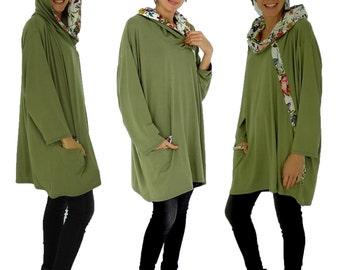 HS100GN2 tunic layered look shirt asymmetrical Gr. 40-52 Green