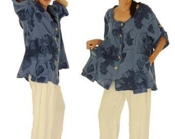 HN800BL44 linen tunic blouse blouses jacket 42 44 46 48 blue