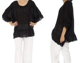HZ300SW ladies blouse linen gauze tunic frill Gr. 40 42 44 46 48 black