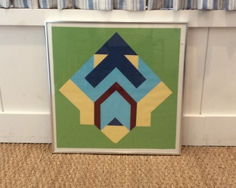 Vintage Framed Geometric Screen Print