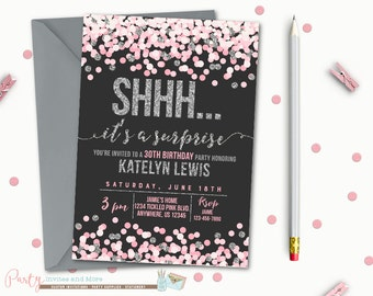 Surprise Birthday Invitation, Birthday Invitation, Surprise Birthday Party, Surprise Party Invitation, Pink and Silver Invitation