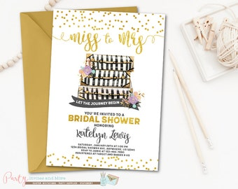 Miss to Mrs Bridal Shower Invitation, Miss to Mrs. Bridal Shower, Adventure Bridal Shower, Travel Bridal Shower Invitation, Suitcases
