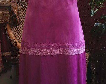 Butterfly Mauve Beautiful upcycled slip dress gown boho burlesque bohemian festival lace
