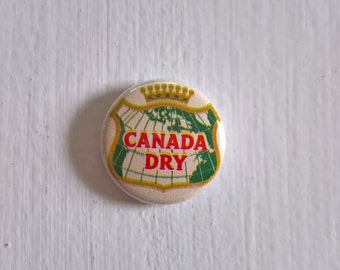 Canada Dry Vintage Pinback Button --- Retro Ginger Ale Soda Pop Badge --- 1960's Refreshments Style Accessory Lapel Pin Stocking Stuffer