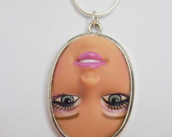 Upside Down Barbie Large Doll Face Necklace | Dollfaced