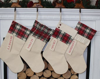 Personalized Red and Black Plaid Christmas Stocking red and black flannel christmas plaid classic stocking