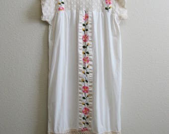 Mexican Wedding Dress Lace Embroidery Cotton Large