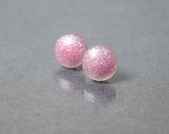 tiny pink stud earrings post earrings womens gift everyday jewelry original modern earrings mom wife sister gifts