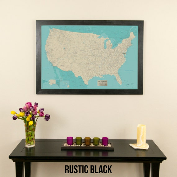 Personalized Teal Dream United States Push Pin Travel Map US - Personalized us travel map