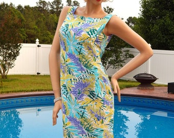 Vintage TALBOTS Pure Silk Dress Size 8, Silk Summer Dress Tropical Floral Print Square Neckline