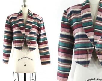 1980s cropped jacket • striped short jacket • western jacket • shawl collar jacket • cotton linen jacket • open front jacket L