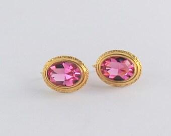 Antique Pink Glass Earrings - 14 karat yellow gold - Euro Backs