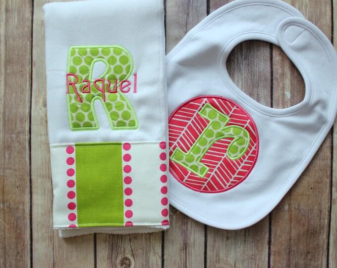 Monogrammed Baby Girl Burp Cloth Bib Set, Personalized Burp Cloth Set, Baby Girl Gift, Baby Shower Gift, Pink Green Baby Gift, Custom Baby