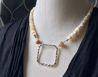 Keishi Pearl Necklace with Sunstone and a Large Square Hammered Sterling Silver Pendant