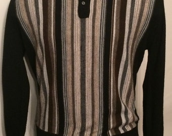 Vintage MENS 1960s Hartog of California for Baskin chest stripe polo style lightweight sweater, size L