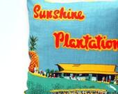 Cushion Cover Vintage Linen Tea Towel Sunshine Plantation Pineapple