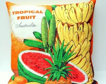 Cushion Cover Vintage Linen Tea Towel Australian Fruit Pineapple Banana Watermelon