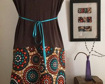 Vestido chocolate y turquesa