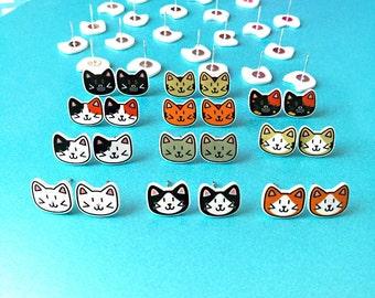 Cat earrings, cat stud earrings, cat gifts, cat jewellery, cat lover gift, girls earrings, stud earrings, crazy cat lady, cute cat earrings