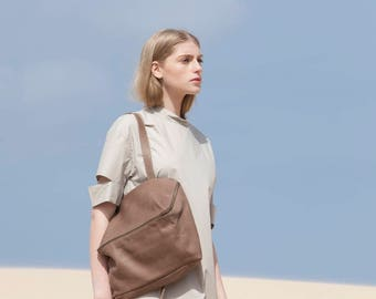Leather Tote with Zipper, Leather Bag, Leather Handbag In Taupe, Over The Shoulder Leather Bag - Taupe Lolu