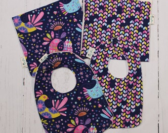 Love Birds, Baby Bib and Burp Cloth, Newborn Gift, Baby Shower Gift, Choose your fabric, Build a Set