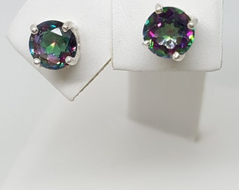 1.75ctw Rainbow Topaz 6mm Sterling Silver Stud Earrings