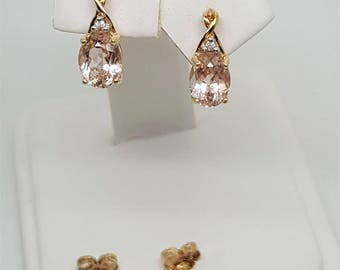 1.90ctw Morganite w Diamond Accent 10K Yellow Gold Earrings