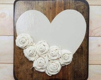 Medium Cream Rosette Hearts