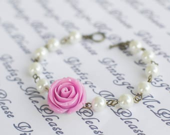 Pink Flower Bracelet, Bridesmaids Bracelet, Flower Girl Gift, Bridesmaids Gifts, Toddler Bracelet, Infant Gifts, Pearl Bracelet, Bridal Gift